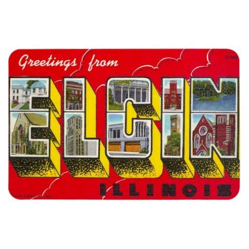 ¡Imán grande de la postal de la letra de Elgin Ill