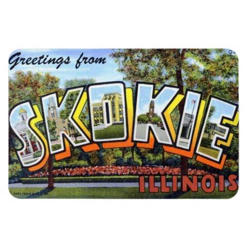 Imán grande de la postal de la letra de Skokie Ill