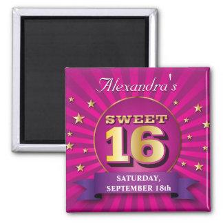 Imán grande del fiesta del dulce 16 del rosa del g