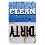Imán grande del vinilo del lavaplatos limpio y suc