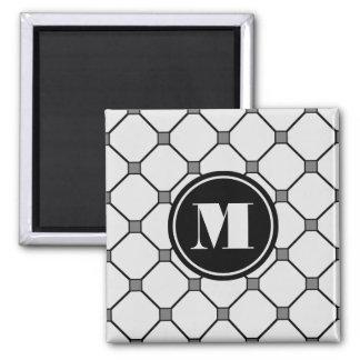 Imán gris claro del diamante del monograma