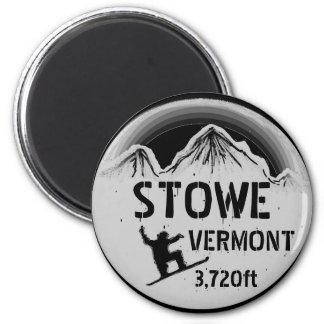 Imán gris negro del arte de la snowboard de Stowe