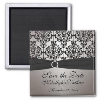 Imán gris y negro del favor del boda del damasco