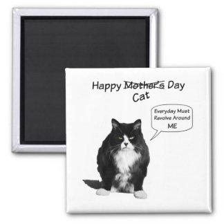 Imán gruñón del cuadrado del día de Cat Mother