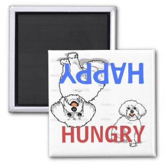 Imán hambriento feliz de Bichon Frise FED