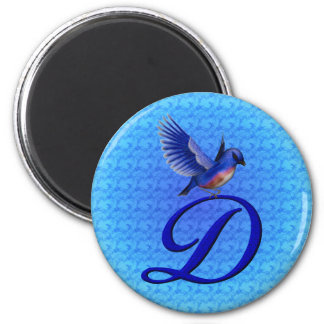 Imán inicial del Bluebird del monograma D
