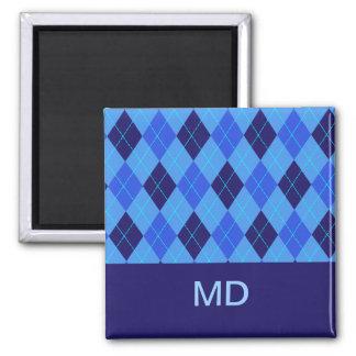 Imán inicial personalizado argyle azul de D M