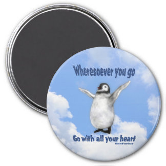 Imán inspirado de la cita de Confucio del pingüino