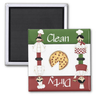 Imán italiano limpio o sucio del lavaplatos del co