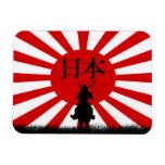 Imán japonés de Nipón del guerrero de la bandera y