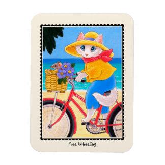 """Imán libre de la bicicleta del gato """"que rueda"""" y"""