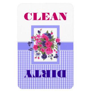 Imán limpio o sucio del diseño floral del lavaplat