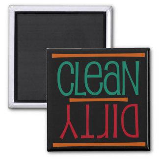 Imán limpio o sucio del lavaplatos, cuadrado