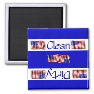 Imán limpio o sucio del lavaplatos de la bandera