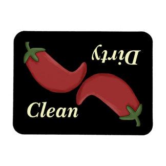 Imán limpio o sucio del lavaplatos de las pimienta