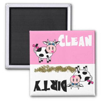 Imán limpio/sucio de la vaca feliz del chica del l