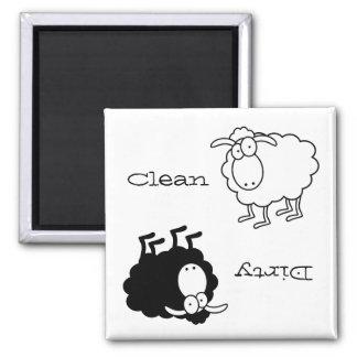 Imán Limpio-Sucio de las ovejas blancos y negros