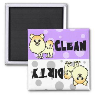 Imán limpio/sucio de Pomeranian lindo del lavaplat