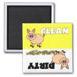 Imán limpio/sucio del cerdo lindo del lavaplatos