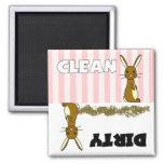 Imán limpio/sucio del conejo lindo del lavaplatos