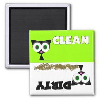 Imán limpio/sucio del gato negro del lavaplatos