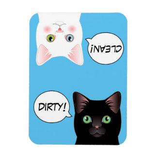 Imán limpio sucio del lavaplatos del gato azul del