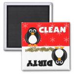 Imán limpio/sucio del pingüino lindo del lavaplato