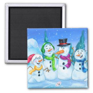 imán lindo de la familia de los muñecos de nieve