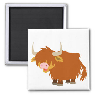 Imán lindo de la vaca de la montaña del dibujo ani