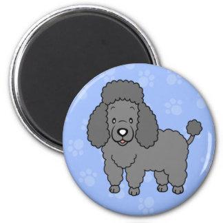 Imán lindo del caniche del perro del dibujo animad
