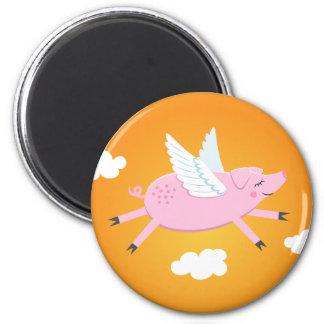Imán lindo del dibujo animado del cerdo del vuelo