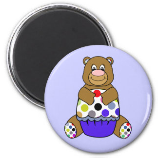 Imán lindo del oso del cumpleaños de Brown del lun