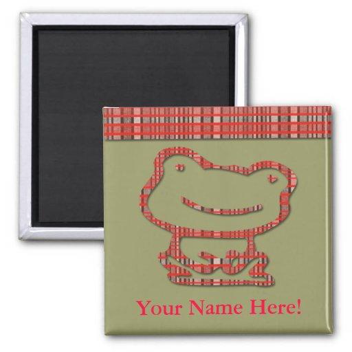 Imán lindo del personalizado de la rana de la tela
