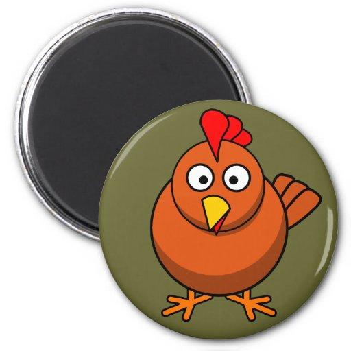 Imán lindo del refrigerador del pollo de Brown