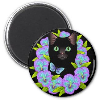 Imán mágico de la buena suerte del gato negro -