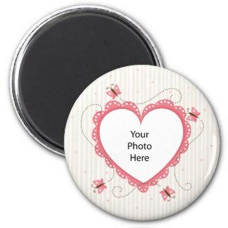 Imán: Marco rosado de la foto del corazón del cord Imán Redondo 5 Cm
