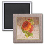 Imán minúsculo de la impresión floral del vintage