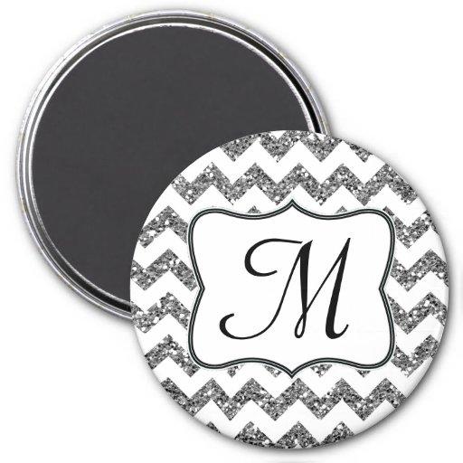Imán moderno de la inicial del monograma de Silv G