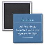 Imán moderno del refrigerador del Haiku (cuadrado)
