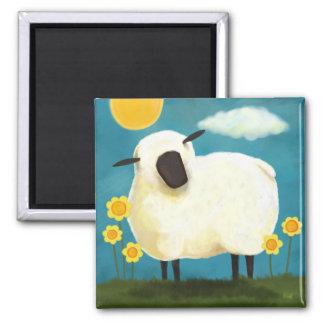 Imán mullido del arte de las ovejas y de las flore