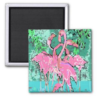 Imán - multitud abstracta retra de flamencos rosad