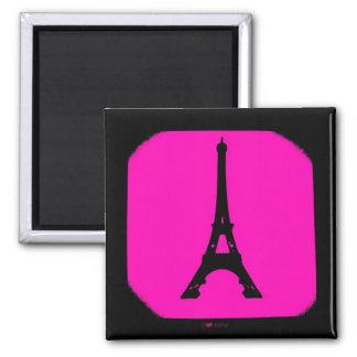 Imán negro rosado de la torre Eiffel de París de l