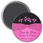 Imán negro y rosado del favor del boda