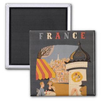 Imán parisiense del cuadrado del poster del viaje