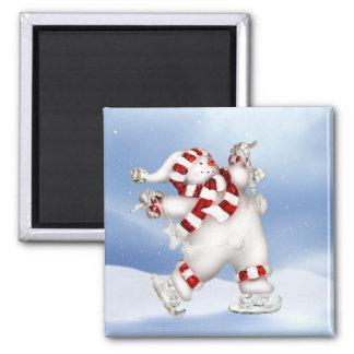 Imán patinador del muñeco de nieve