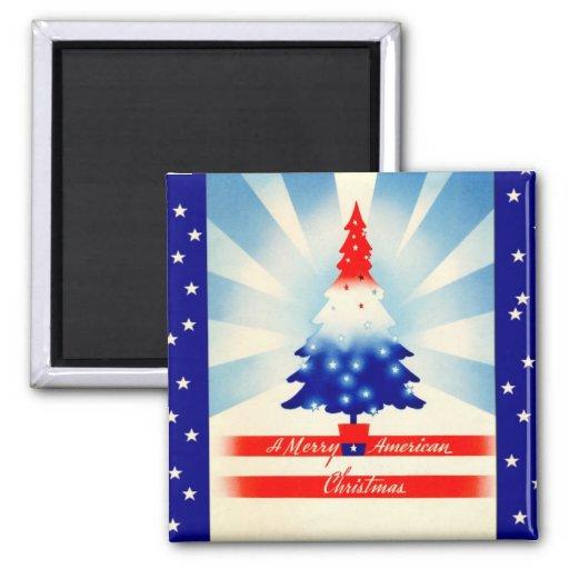 Imán patriótico del árbol de los Felices Navidad a