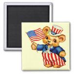 Imán patriótico del cuadrado del oso del vintage