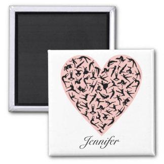 Imán personalizado corazón rosado bonito de la dan