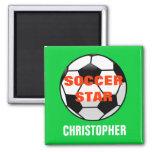 Imán personalizado de la estrella de fútbol