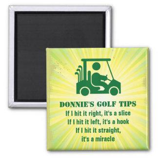 Imán personalizado del verde del carro del golfist